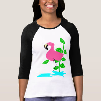 Flamingo With Water And Tropical Leaves, Long Stem T-Shirt