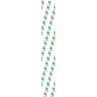Flamingo With Water And Tropical Leaves, Long Stem tie