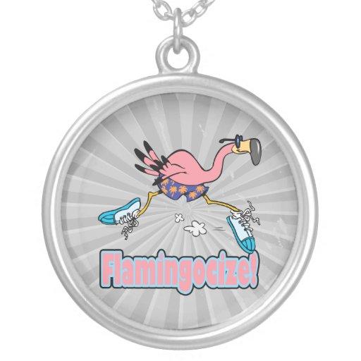 flamingocize el dibujo animado del flamenco que ac colgante redondo