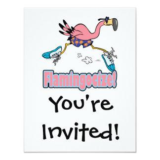 flamingocize el dibujo animado del flamenco que invitación 10,8 x 13,9 cm