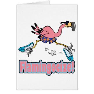 flamingocize jogging flamingo cartoon card