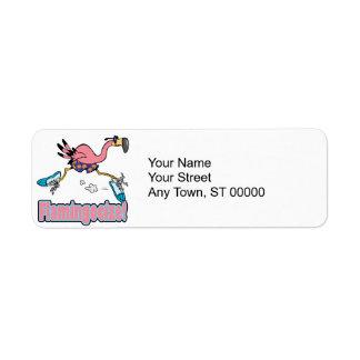 flamingocize jogging flamingo cartoon label