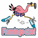 flamingocize jogging flamingo cartoon photo sculpture