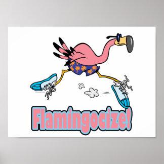 flamingocize jogging flamingo cartoon poster
