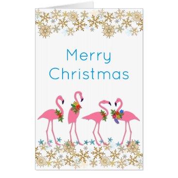 Beach Themed Flamingoes Gold Snowflakes Tropical Christmas Big Card