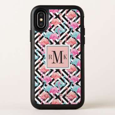 Beach Themed Flamingoes on Bold Design Pattern OtterBox Symmetry iPhone X Case