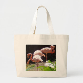 flamingos (2) large tote bag