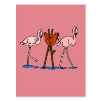 Flamingos And Chicken With Pink Background Postcard