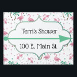 """Flamingos and Palm Trees Atomic Style Signage<br><div class=""""desc"""">This fun pattern features whimsical,  retro flamingo graphics with palm trees and atomic style graphic elements in mint green and pink. There&#39;s a decorative nameplate with space to add a name,  event,  and address on each side of the yard sign</div>"""