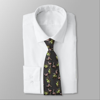 Flamingos And Palm Trees On Black Neck Tie