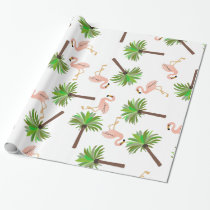 Flamingos and Palm Trees Wrapping Paper