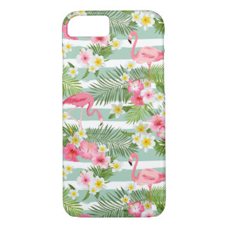 Flamingos And Stripes iPhone 7 Case