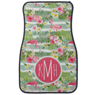 Flamingos And Stripes | Monogram Car Floor Mat