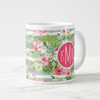 Flamingos And Stripes | Monogram Large Coffee Mug