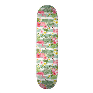 Flamingos And Stripes Skateboard Deck