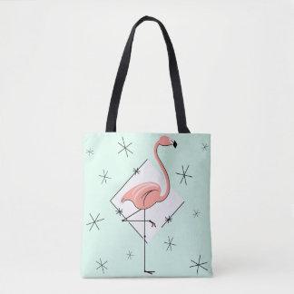 Flamingos Aqua diamond all over tote bag