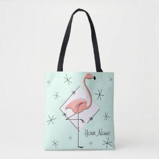 Flamingos Aqua diamond name all over tote bag