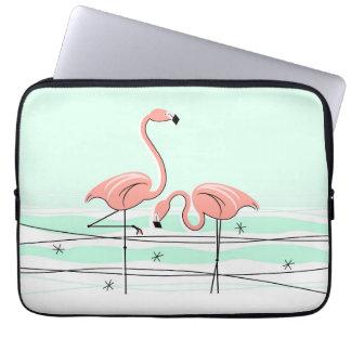 Flamingos Aqua Pair Name laptop sleeve