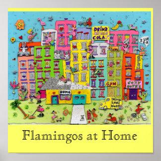 Flamingos at Home Poster