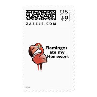 Flamingos ate my Homework Postage Stamp