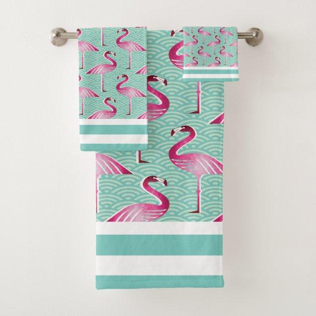 2pc Envogue Flamingo Silhouette Kitchen Towel Set Summer Coral Pink NEW