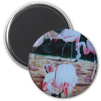 Flamingos birds derived from watercolor painting 2 inch round magnet