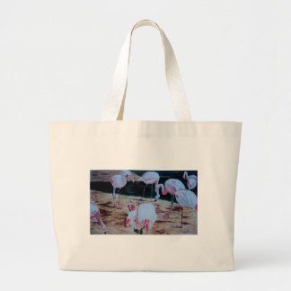 Flamingos birds derived from watercolor painting large tote bag