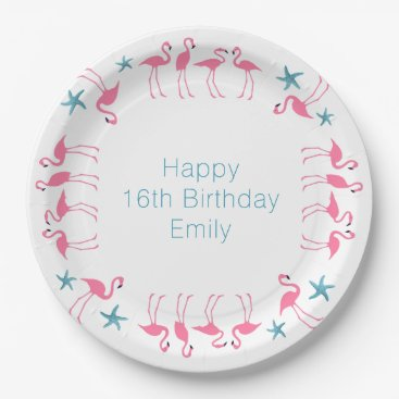 Beach Themed Flamingos Blue Starfish Custom Party Plates