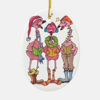 Flamingos caroling Christmas ornament