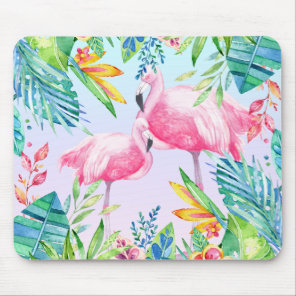 Flamingos & Colorful tropical Flowers Mouse Pad