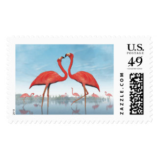 Flamingos courtship - 3D render Postage