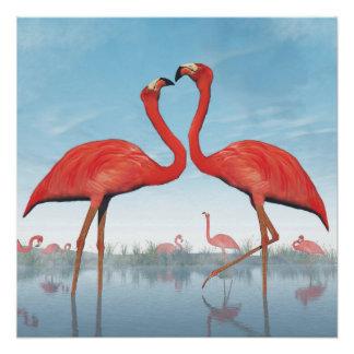 Flamingos courtship - 3D render Poster