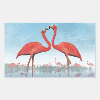 Flamingos courtship - 3D render Rectangular Sticker