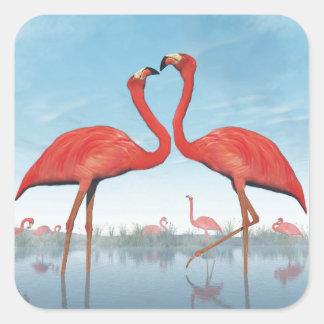Flamingos courtship - 3D render Square Sticker