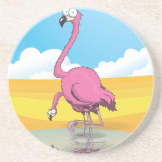 flamingos drink coaster