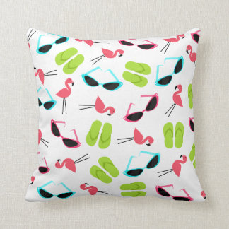 Flamingos Flip Flops & Sunglasses Pillow