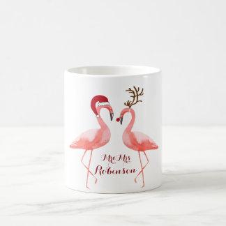 Flamingos funny christmas coffee mug
