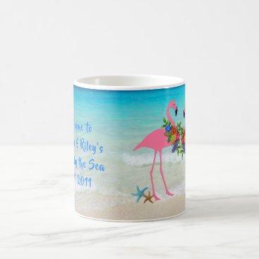 Beach Themed Flamingos Home by the Sea Custom Coffee Mug