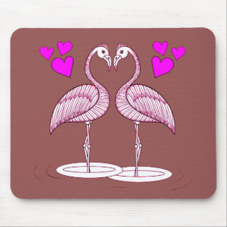 Flamingos in Love Mouse Pad