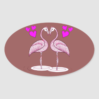 Flamingos in Love Oval Sticker