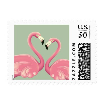 Valentines Themed Flamingos in Love Postage