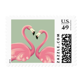 Flamingos in Love Postage Stamps