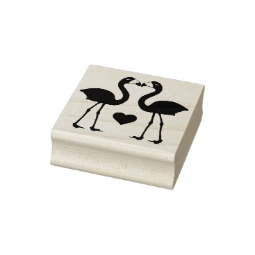 "Valentines Themed ""Flamingos in Love"" Rubber Stamp"