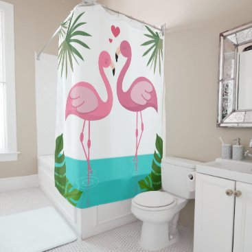Beach Themed Flamingos In Love Shower Curtain