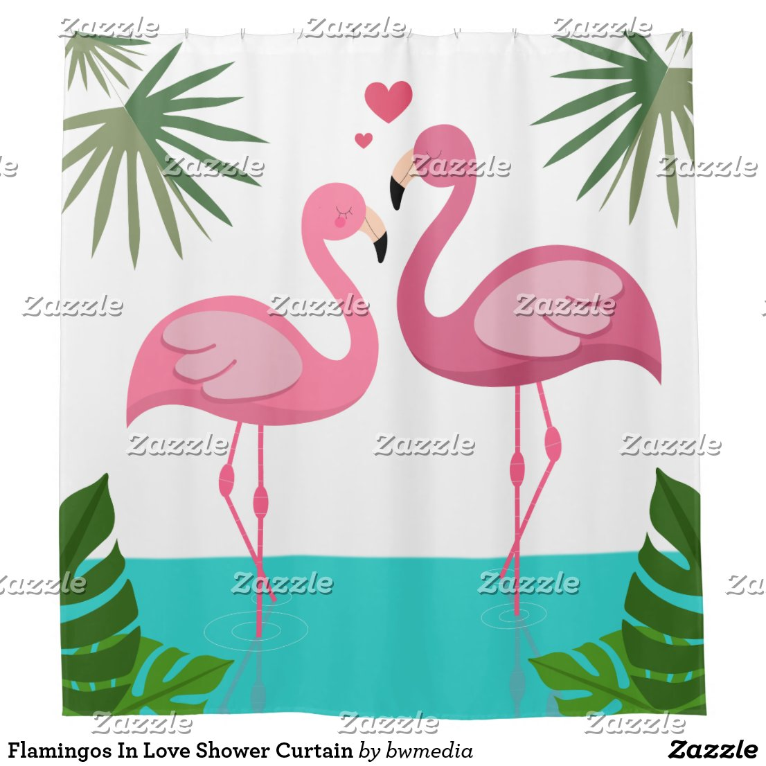 Flamingos In Love Shower Curtain