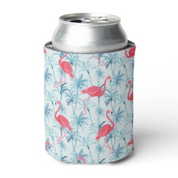 Beach Themed Flamingos in Paradise Can Cooler