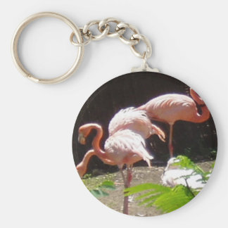 flamingos in Pink Keychain