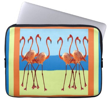 "Beach Themed Flamingos in Sand & Sun 13"" Laptop Sleeve"