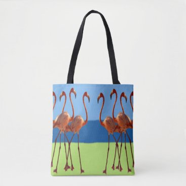 Beach Themed Flamingos in Sand & Sun Tote Bag