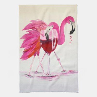 Flamingos In Wine Towel